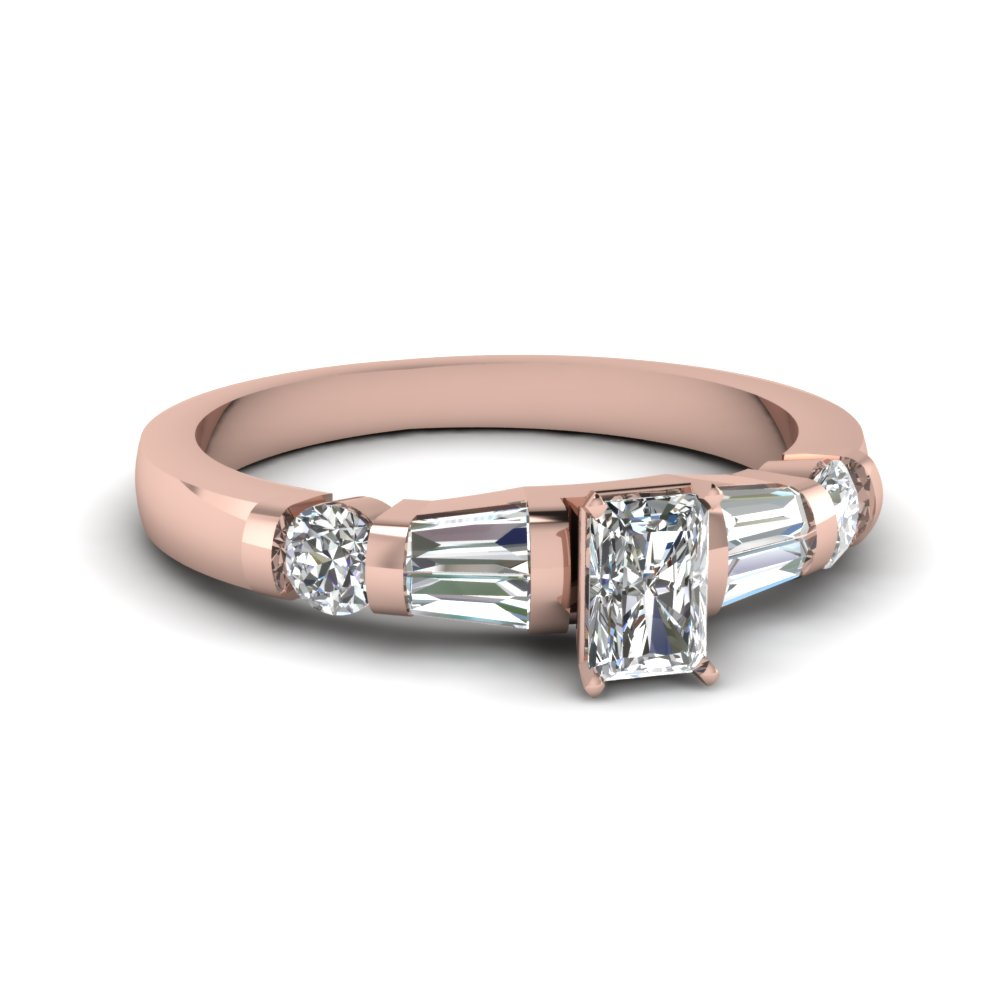 Rose Gold Radiant Cut Diamond Ring