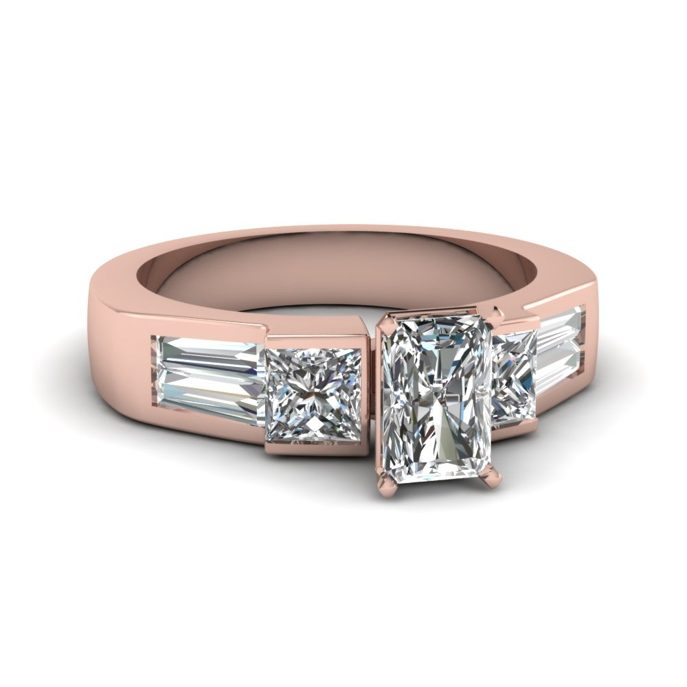 Rose Gold Radiant Diamond Ring