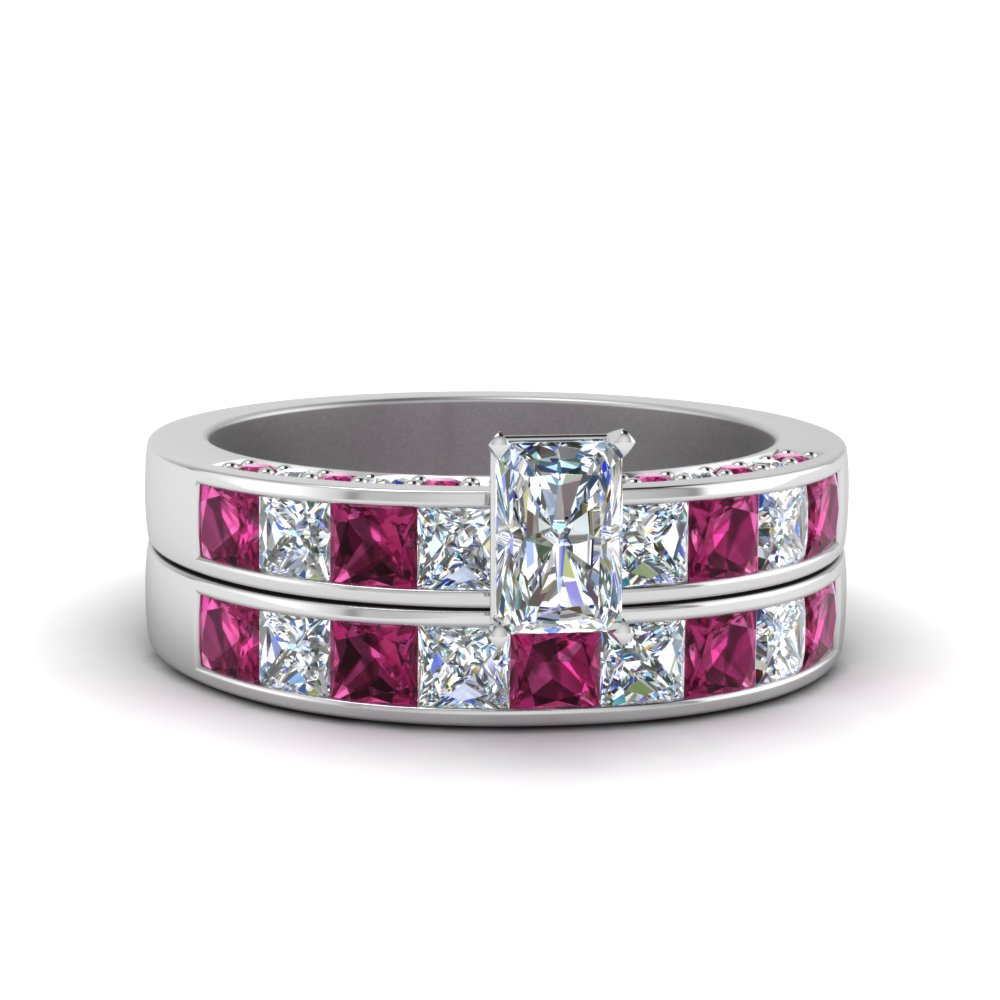 radiant cut diamond channel bridal set with pink sapphire in FDENS198RAGSADRPI NL WG