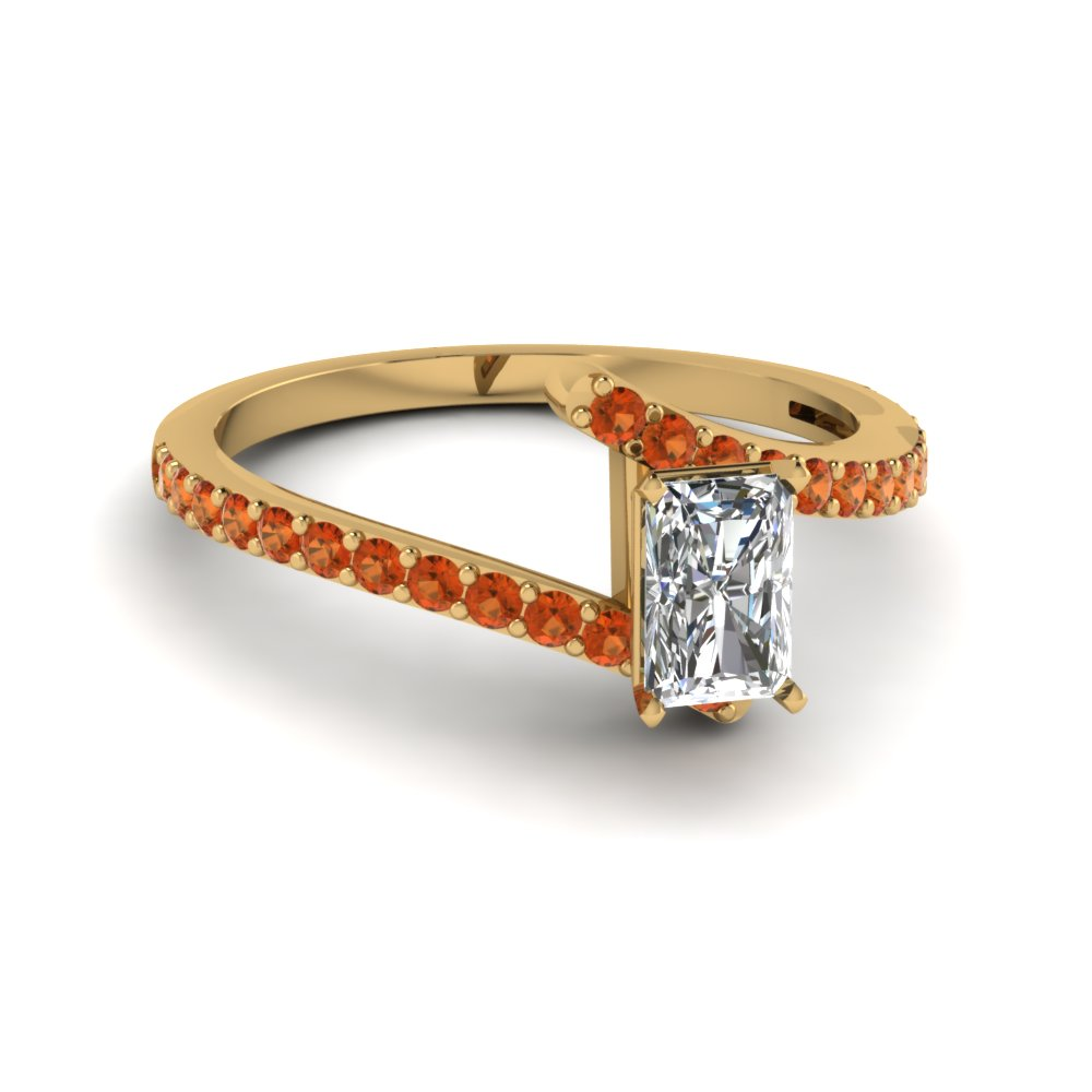 bypass radiant diamond engagement ring with orange sapphire in FDENS3007RARGSAOR NL YG GS