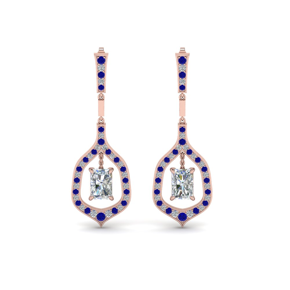 radiant cut diamond drop hanging earring with sapphire in 14K rose gold FDEAR8441RAGSABLANGLE1 NL RG