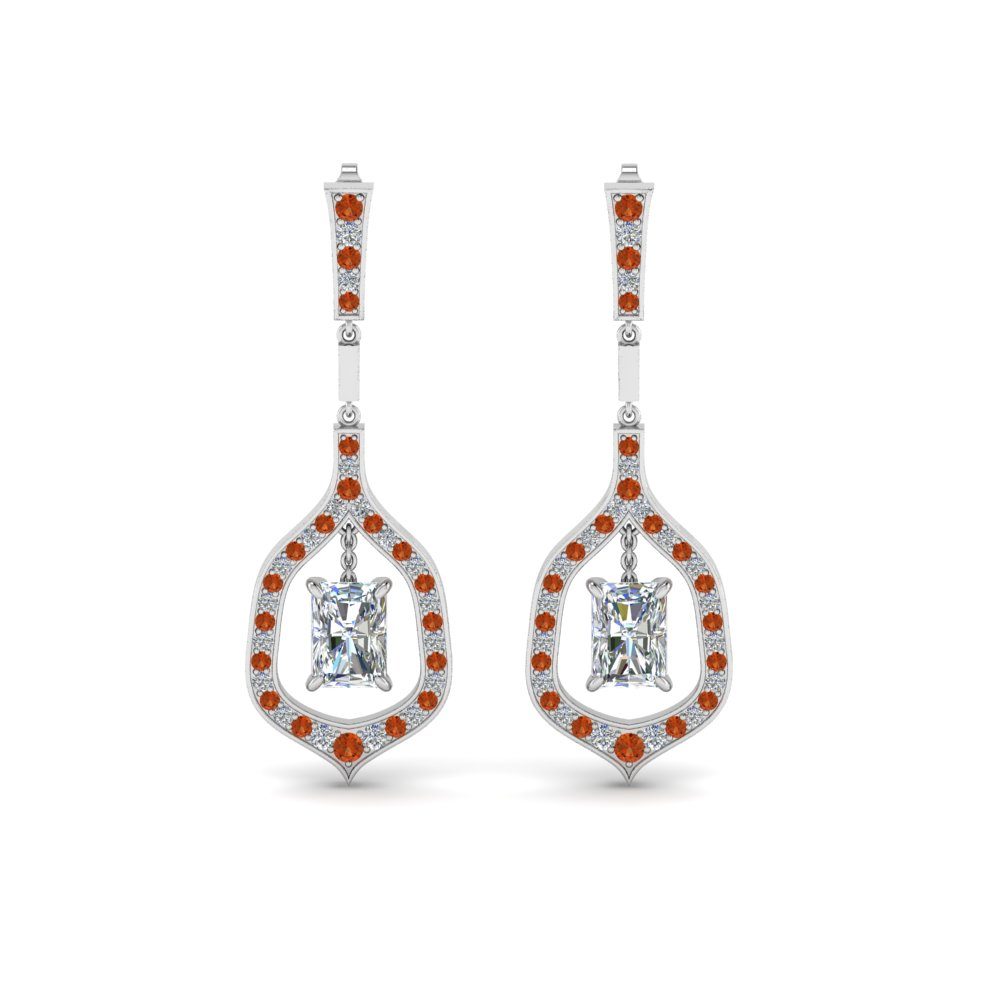 Orange Sapphire Drop Hanging Earring