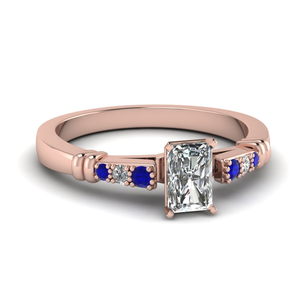 pave bar set radiant cut diamond engagement ring with sapphire in FDENS363RARGSABL NL RG
