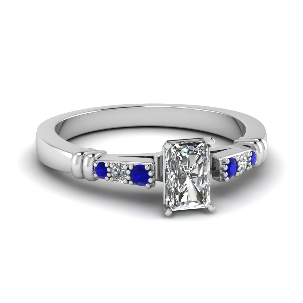 pave bar set radiant cut diamond engagement ring with sapphire in FDENS363RARGSABL NL WG