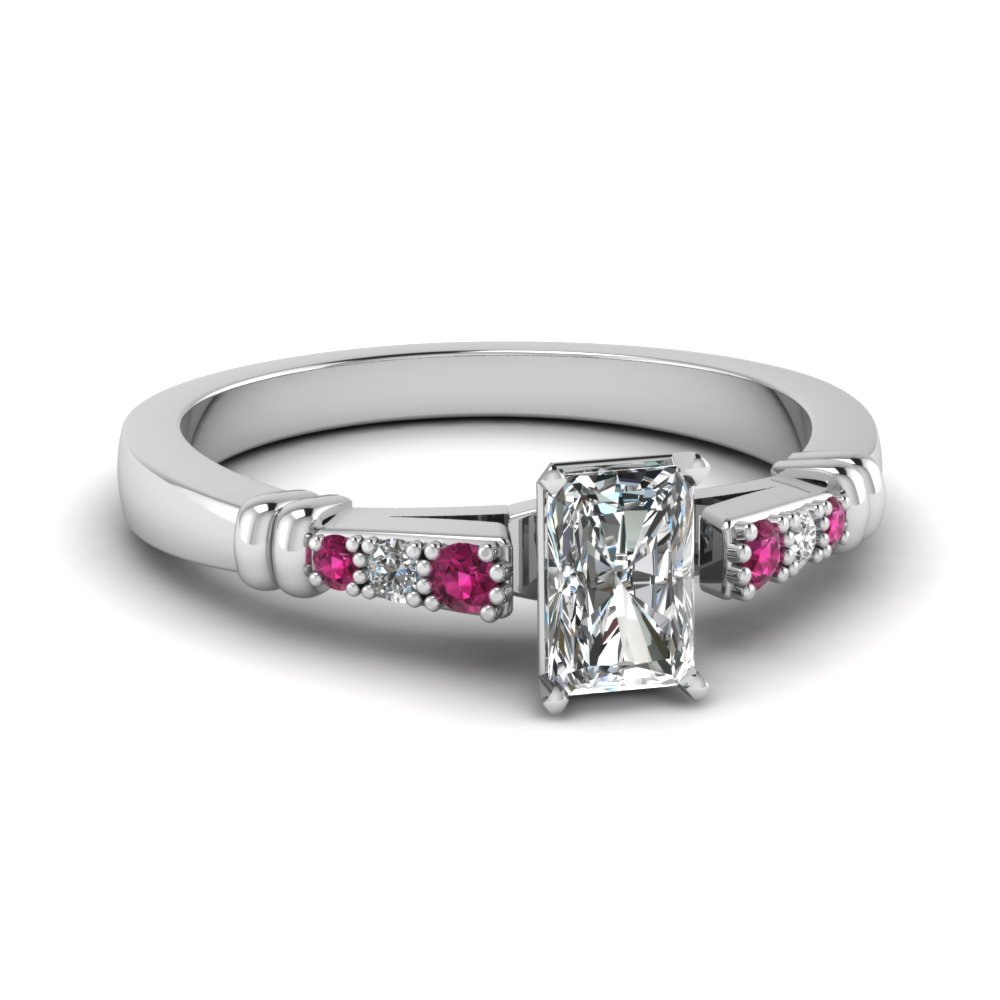 pave bar set radiant cut diamond engagement ring with pink sapphire in FDENS363RARGSADRPI NL WG