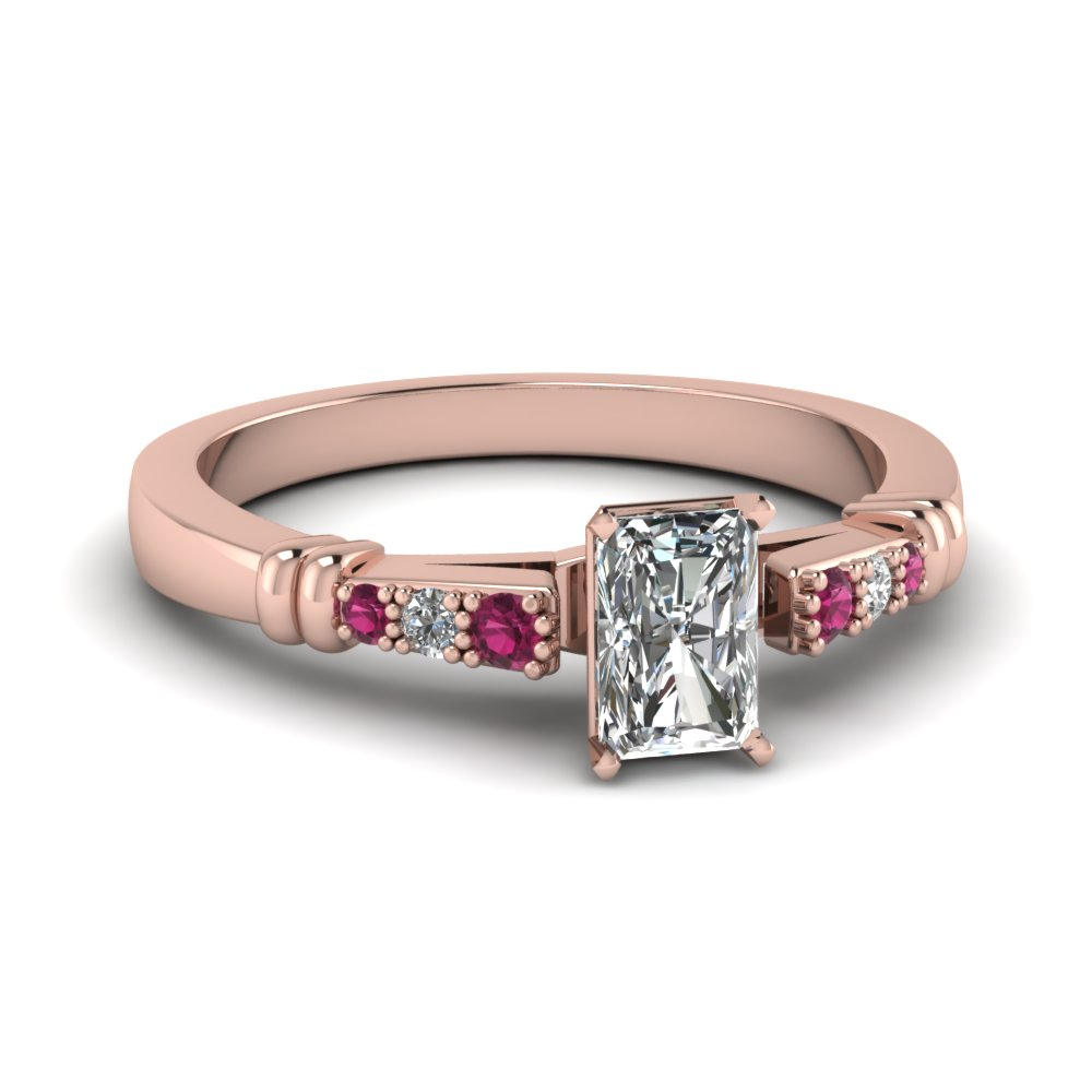 pave bar set radiant cut diamond engagement ring with pink sapphire in FDENS363RARGSADRPI NL RG