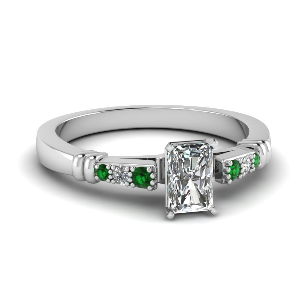 pave bar set radiant cut diamond engagement ring with emerald in FDENS363RARGEMGR NL WG