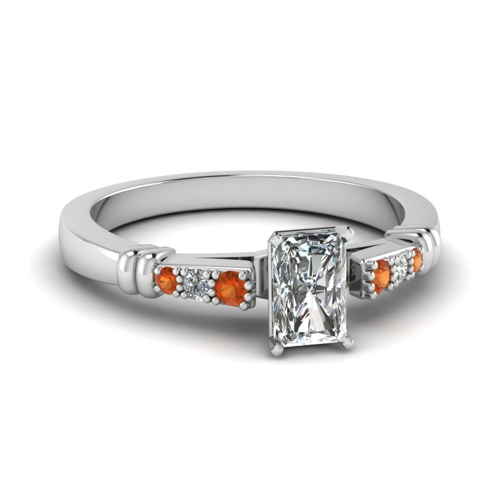 pave bar set radiant cut diamond engagement ring with orange sapphire in FDENS363RARGSAOR NL WG