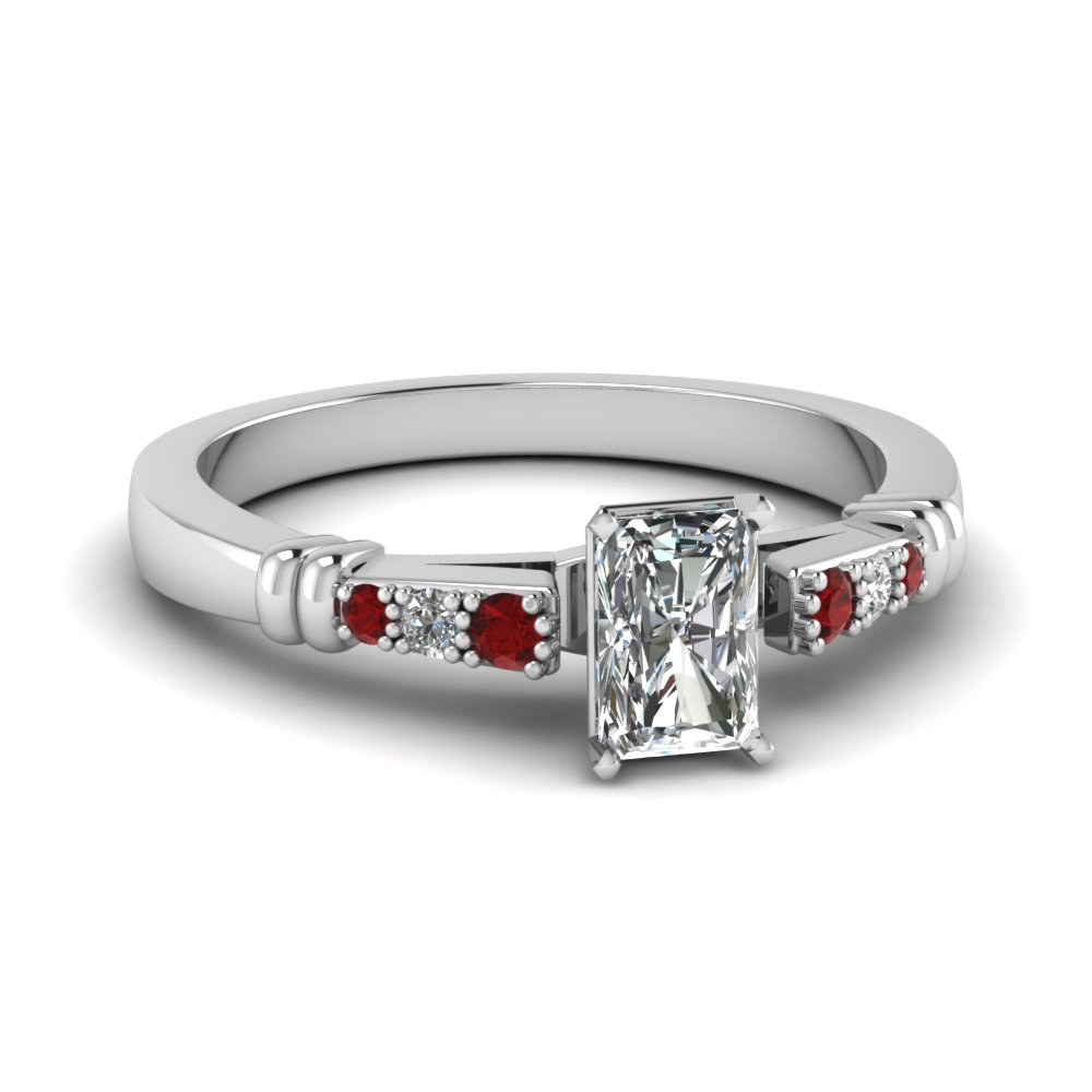 pave bar set radiant cut diamond engagement ring with ruby in FDENS363RARGRUDR NL WG