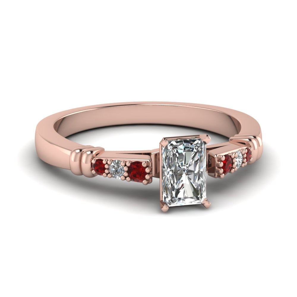 pave bar set radiant cut diamond engagement ring with ruby in FDENS363RARGRUDR NL RG