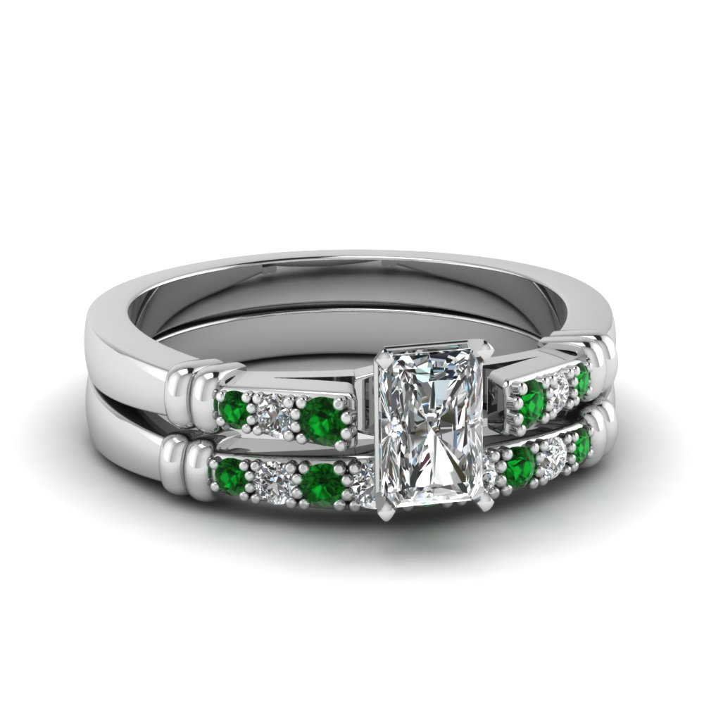 pave bar set radiant cut diamond wedding ring set with emerald in FDENS363RAGEMGR NL WG