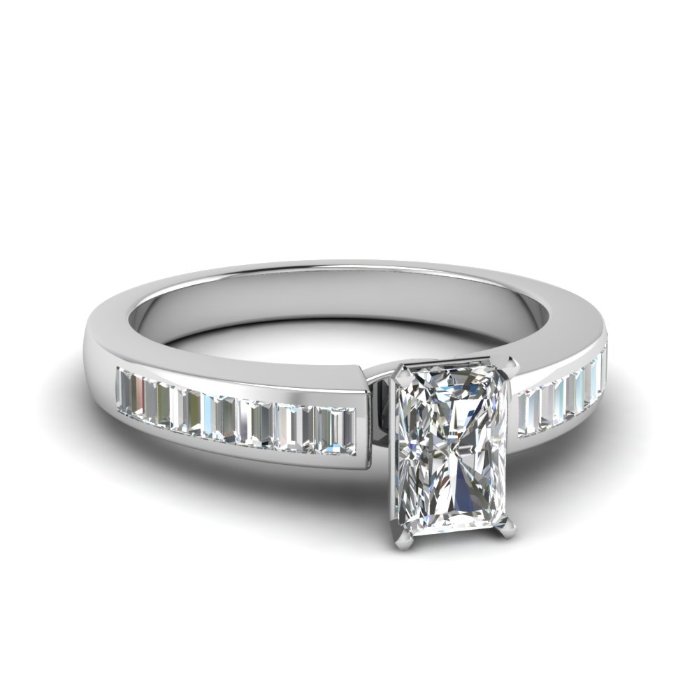 channel baguette radiant diamond engagement ring in FDENR1009RAR NL WG