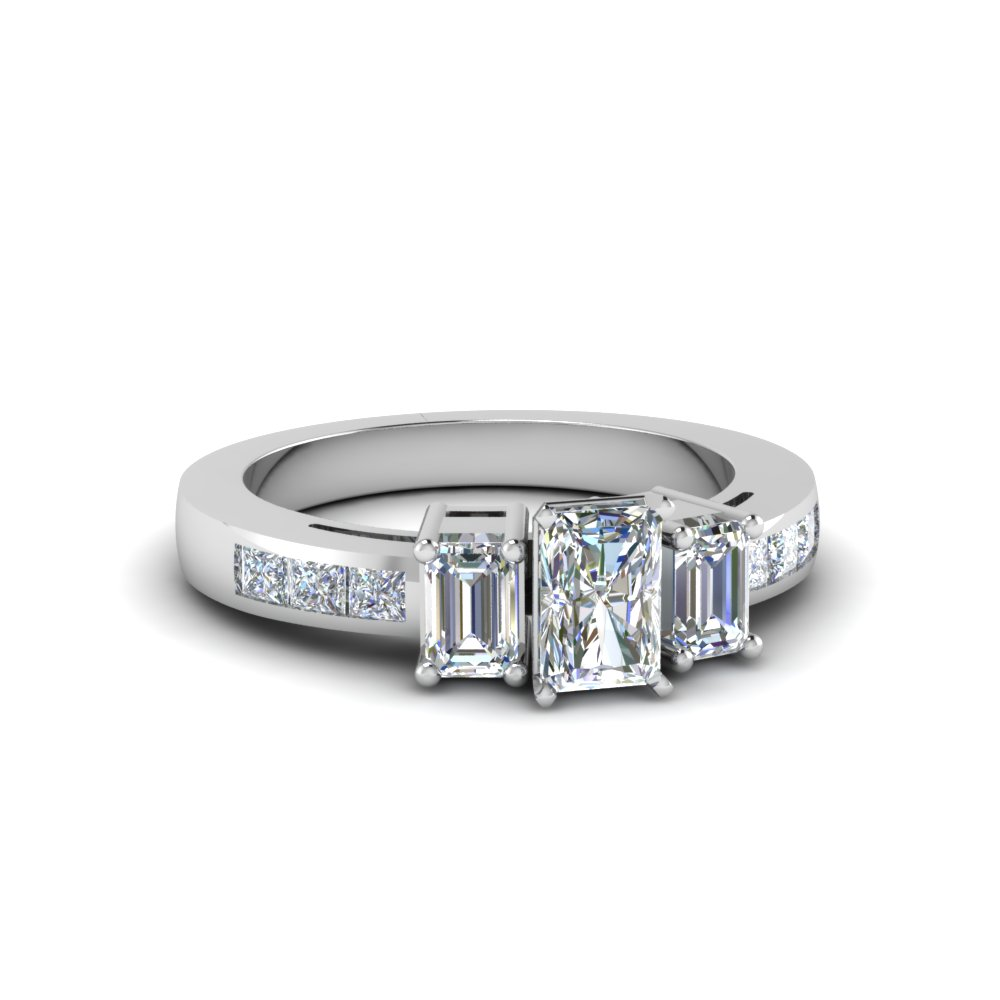 channel set 3 stone radiant diamond engagement ring in FDENS207RAR NL WG