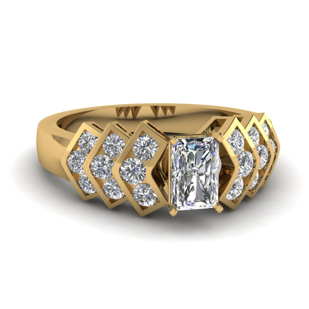 V Shaped Radiant Diamond Ring
