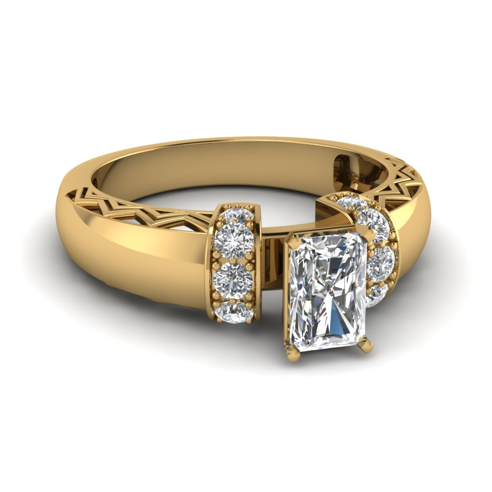 radiant cut diamond engagement ring in 14K yellow gold FDENR3211RAR NL YG