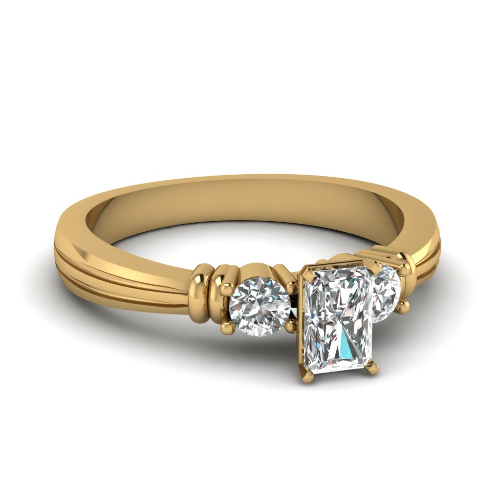 14K Gold Radiant Cut Diamond Ring