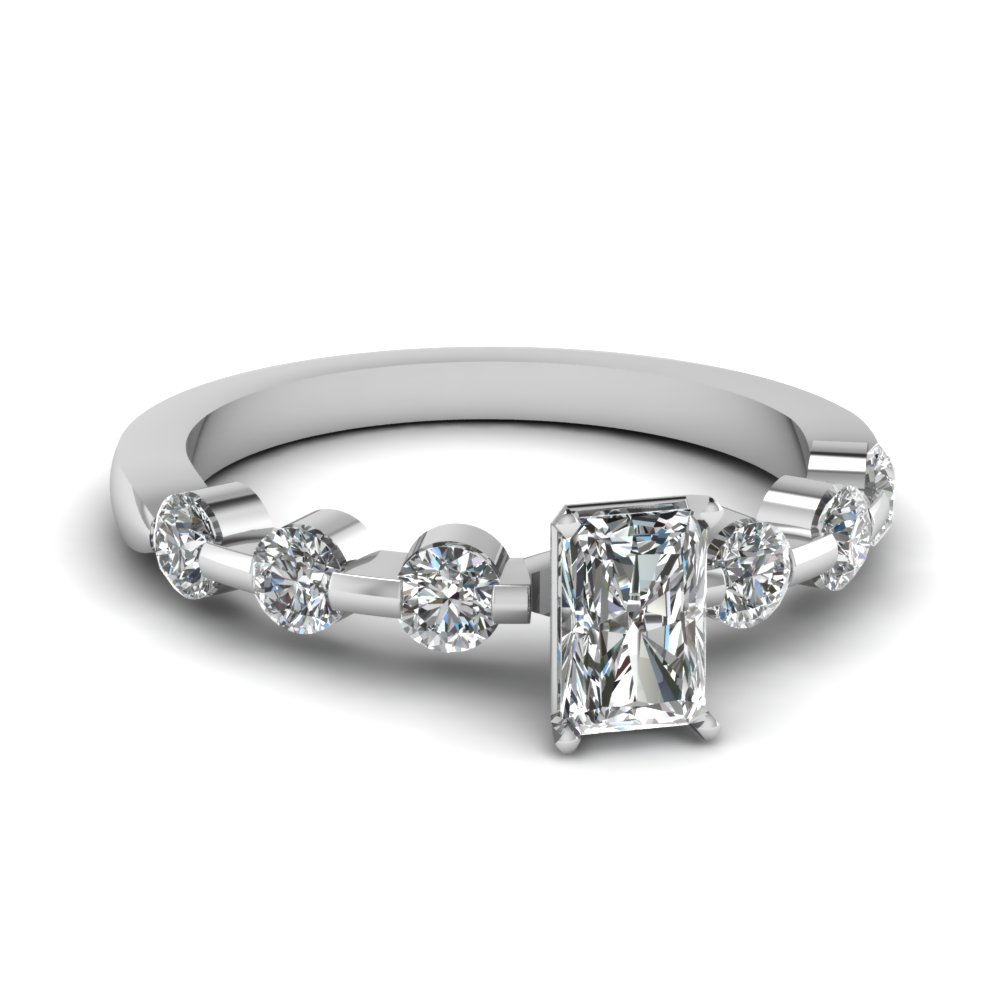floating bar radiant cut diamond engagement ring in FDENS1571RAR NL WG
