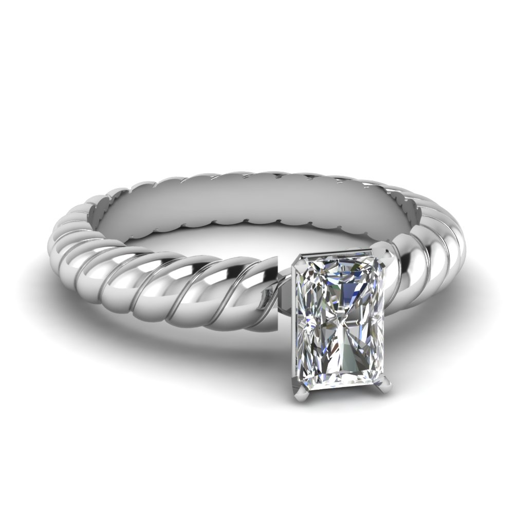 radiant cut rope solitaire engagement ring in FDENS1793RAR NL WG