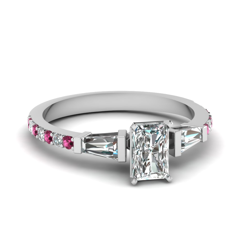 3 stone baguette radiant diamond engagement ring with pink sapphire in FDENS1099RARGSADRPI NL WG