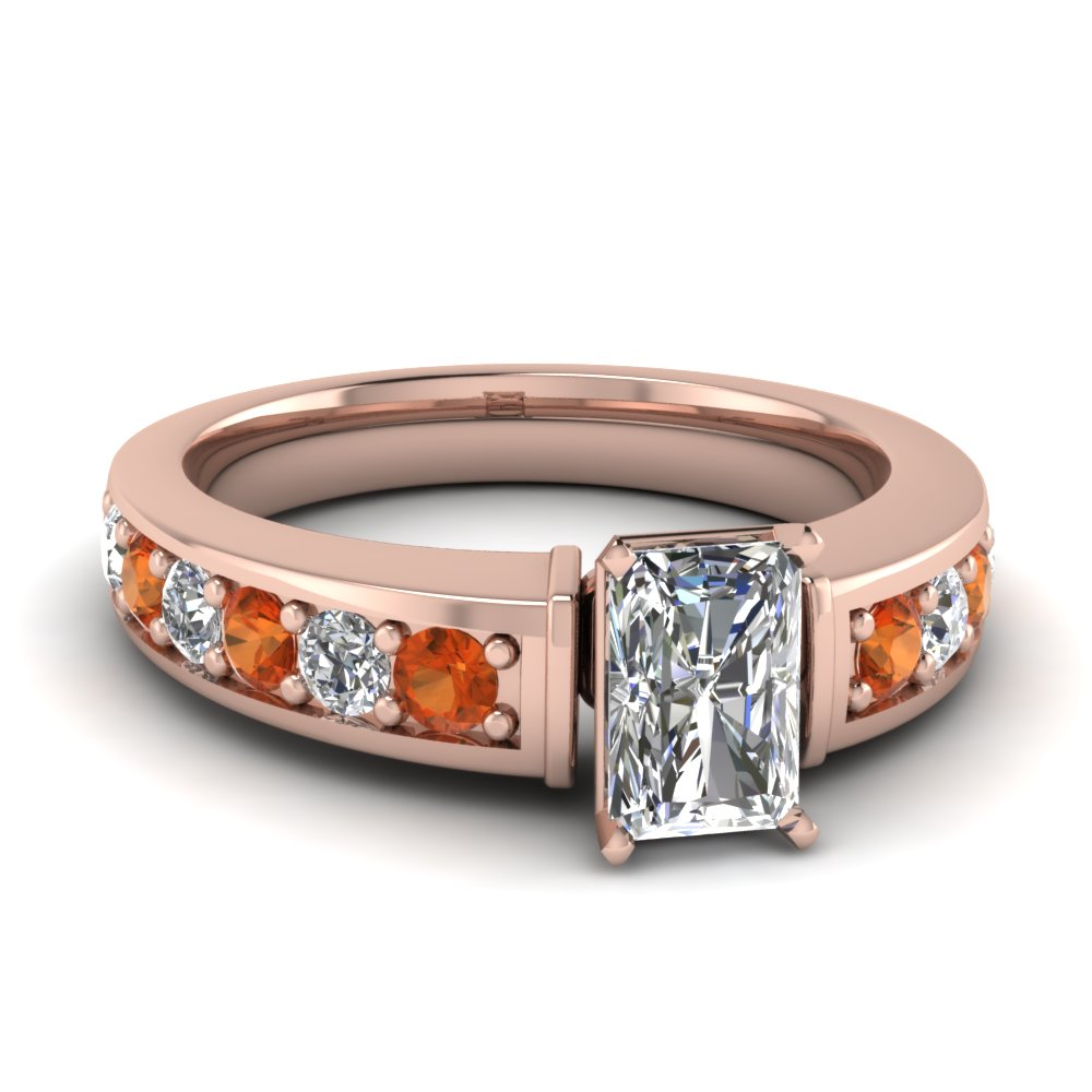 pave radiant cut diamond engagement ring with orange sapphire in FD122056RARGSAOR NL RG