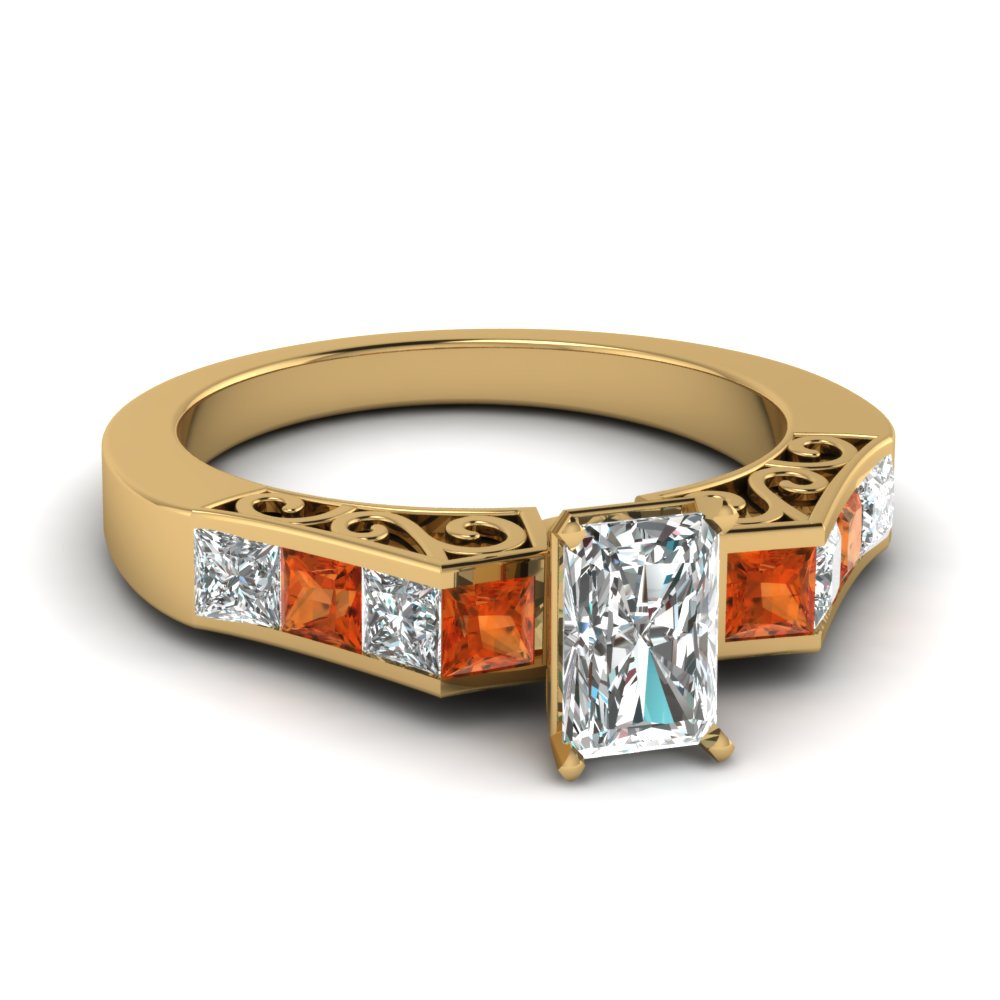 channel diamond radiant cut vintage engagement ring with orange sapphire in FDENS151RARGSAOR NL YG