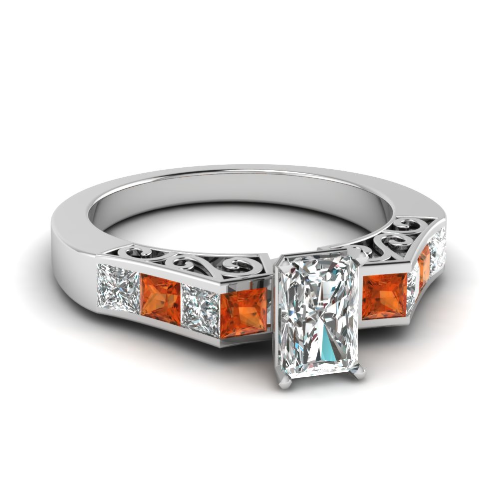 channel diamond radiant cut vintage engagement ring with orange sapphire in FDENS151RARGSAOR NL WG