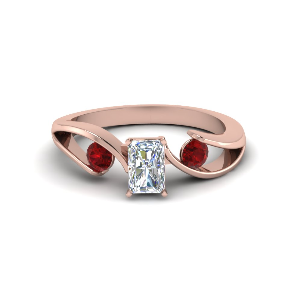 tension set radiant cut 3 stone engagement ring with ruby in FDENR1140RARGRUDRANGLE1 NL RG