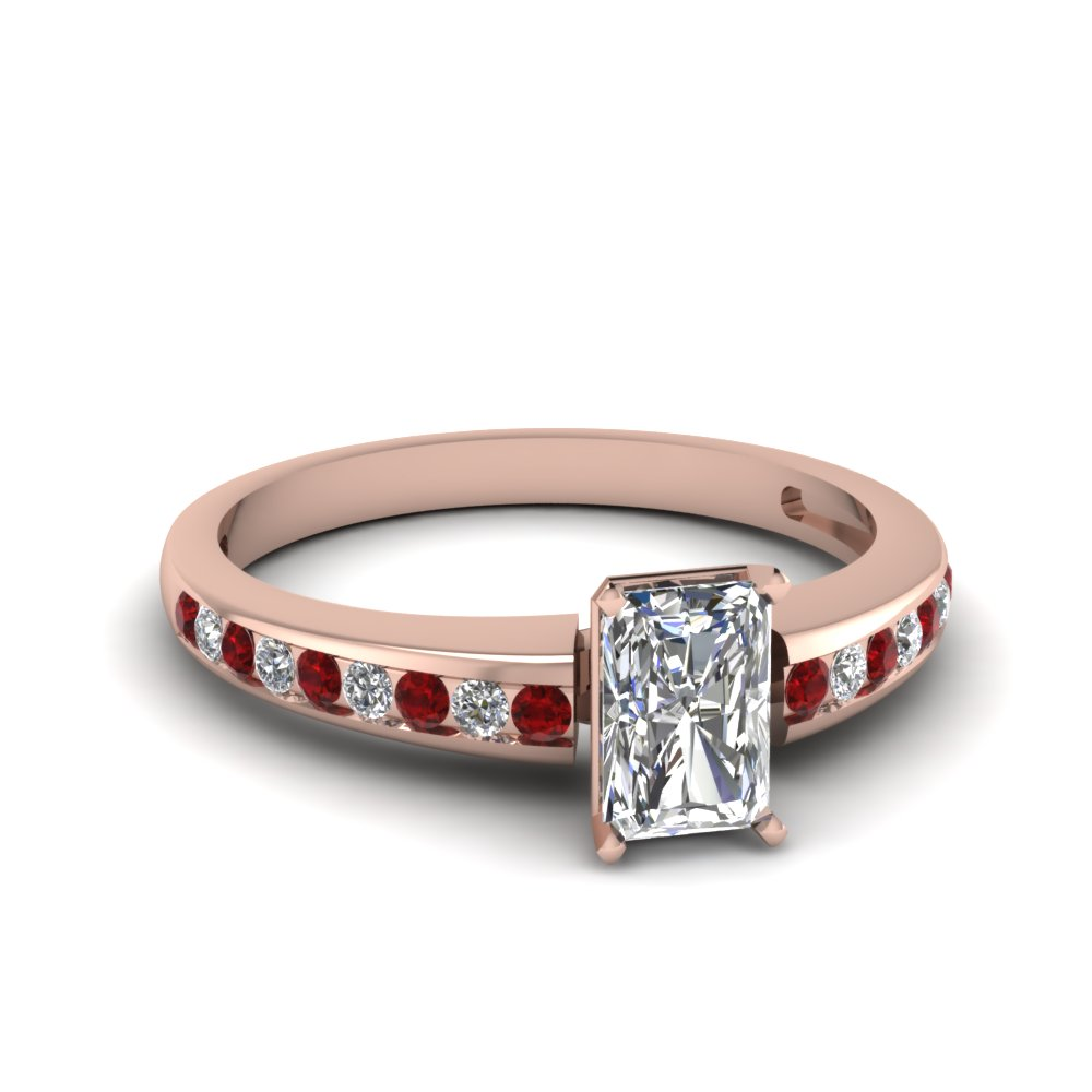 Thin Band Ruby and Diamond Affordable Radiant Engagement Ring
