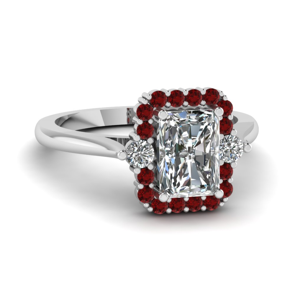 Radiant Ruby Halo Ring