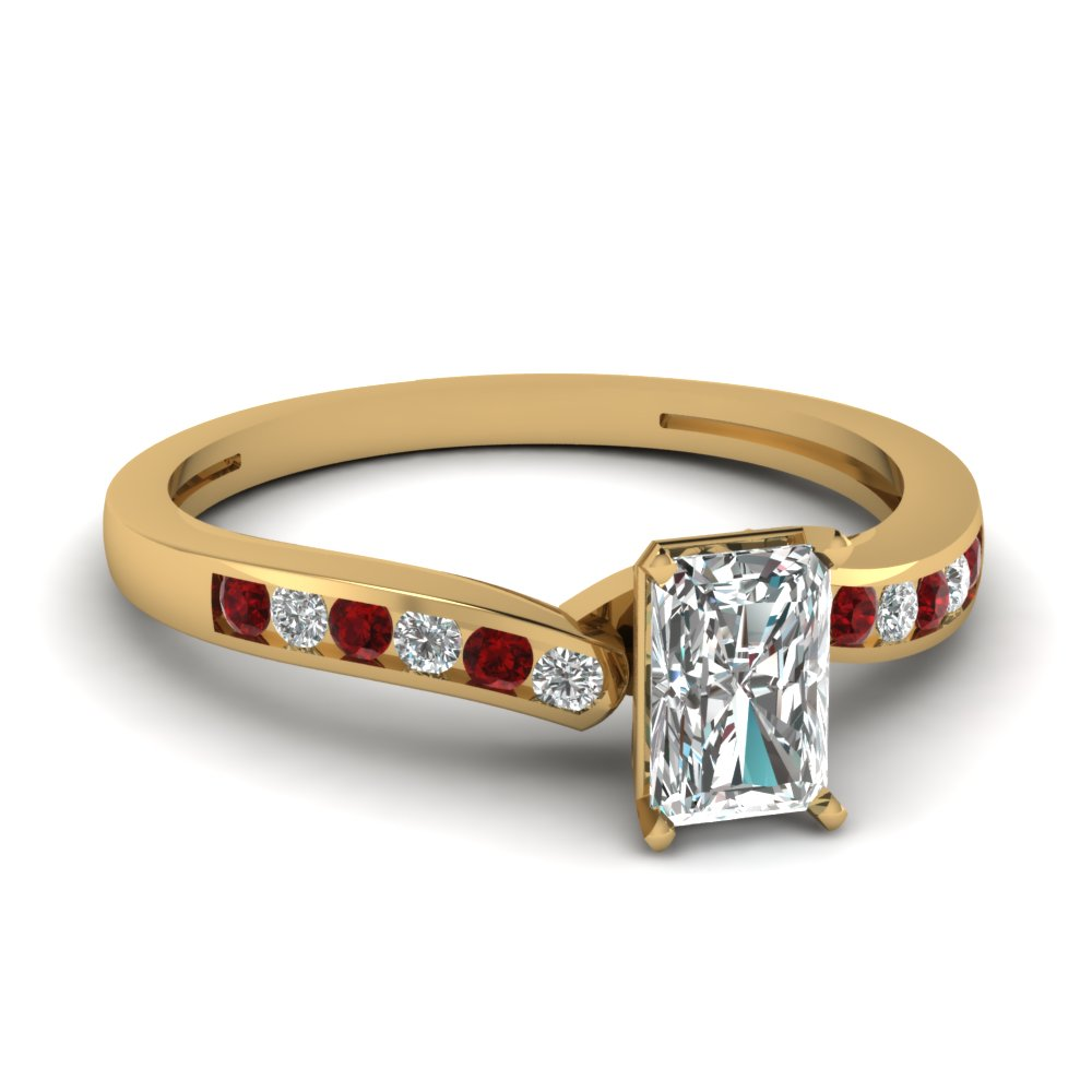 radiant cut diamond channel wedding ring with ruby in FDENS3092RARGRUDR NL YG.jpg