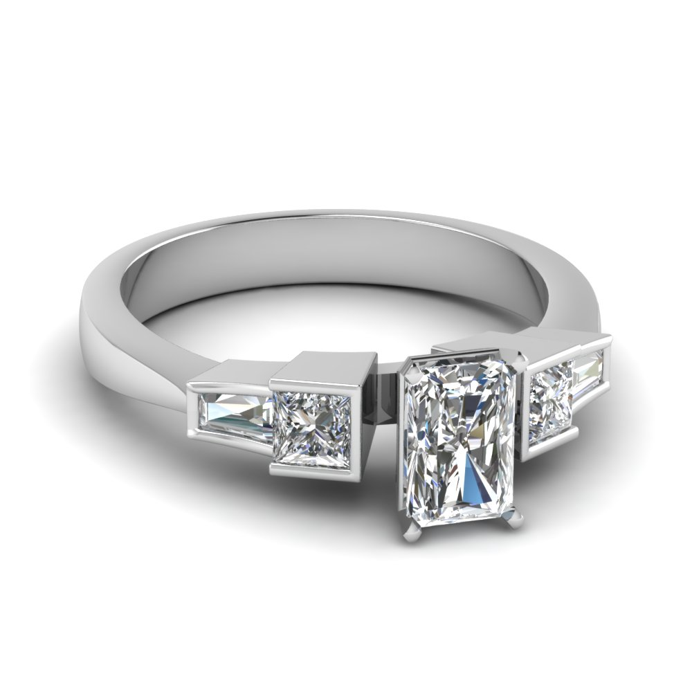 Bezel Set Baguette And Princess Accented Radiant Cut Engagement Ring