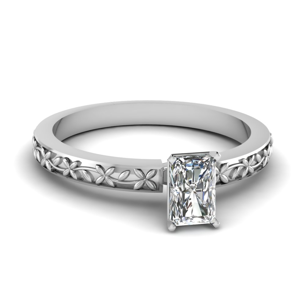 floral engraved radiant diamond solitaire engagement ring in FDENS3552RAR NL WG