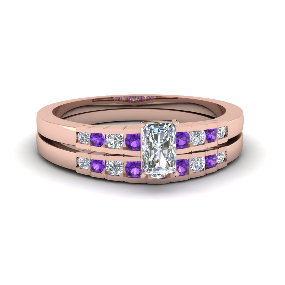 radiant cut diamond graduated accent wedding set with violet topaz in FDENS3116RAGVITO NL RG