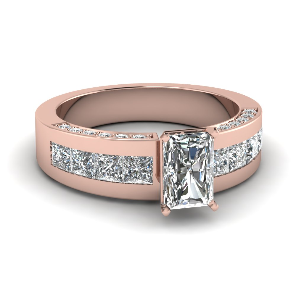 Rose Gold Radiant Cut Diamond with Channel Set And Pave Side Stones