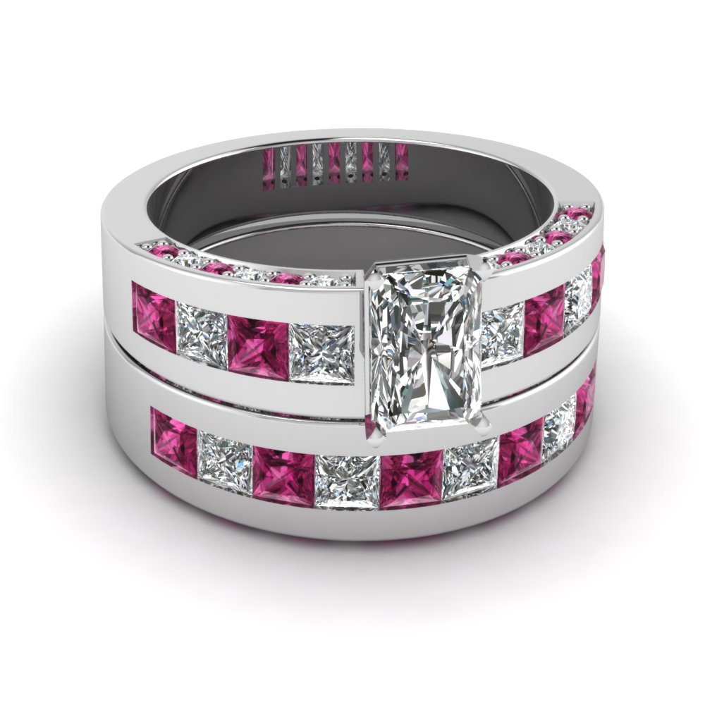 18k White Gold Wedding Ring Set with Pink Sapphires