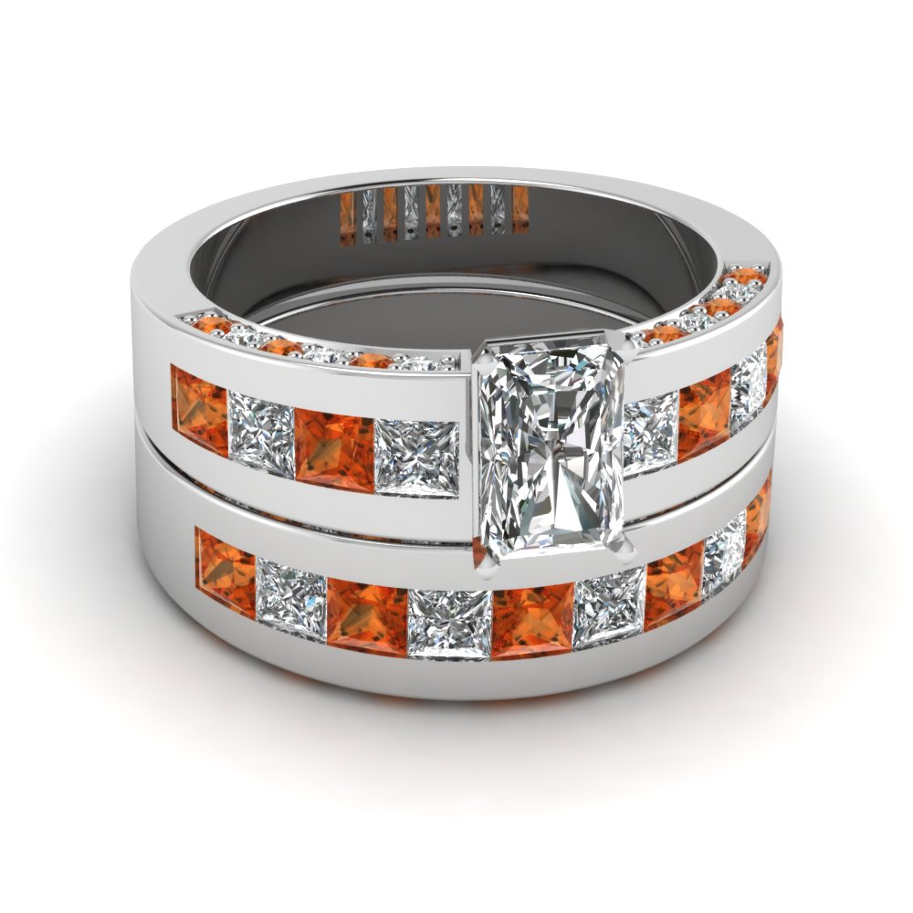 Buy Unique Orange Sapphire Wedding Ring Sets