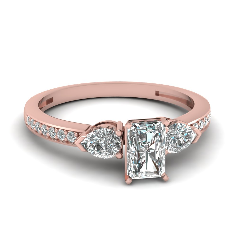 pear accent 3 stone radiant cut diamond engagement ring in 14K rose gold FDENS3111RAR NL RG