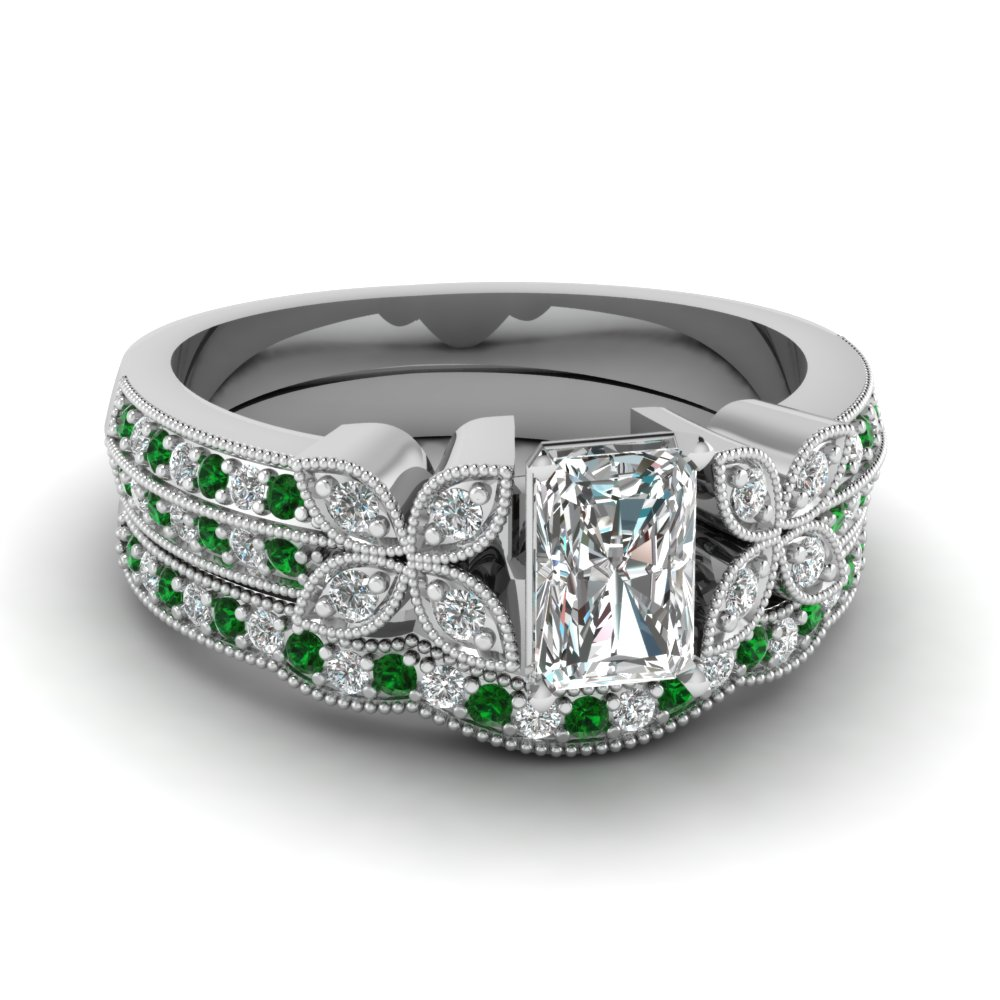 radiant-cut-diamond-milgrain-petal-wedding-set-with-green-emerald-in-18K-white-gold-FDENS3308RAGEMGR-NL-WG