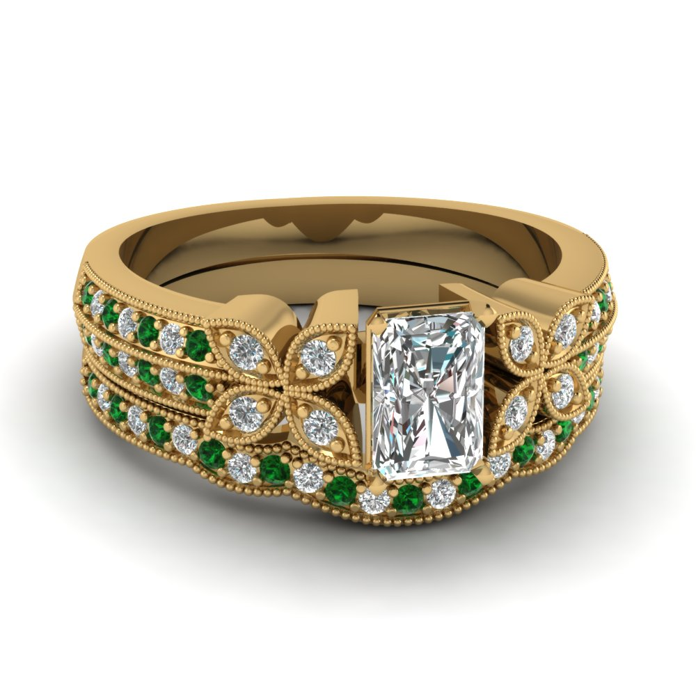 radiant-cut-diamond-milgrain-petal-wedding-set-with-green-emerald-in-18K-yellow-gold-FDENS3308RAGEMGR-NL-YG