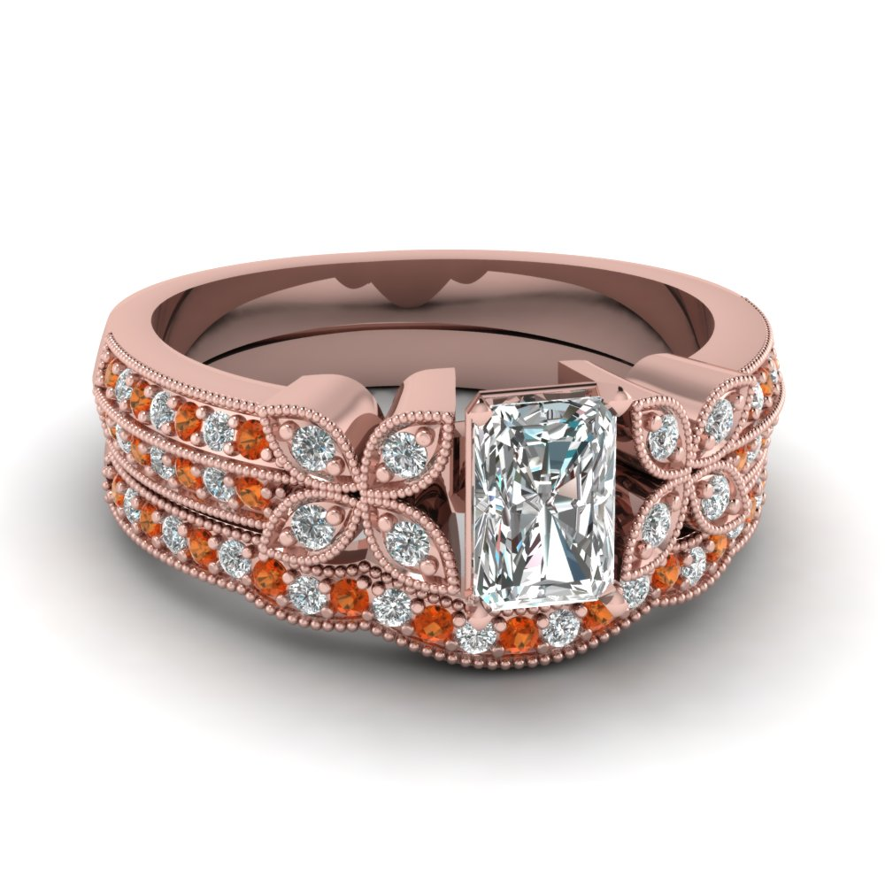 radiant-cut-diamond-milgrain-petal-wedding-set-with-orange-sapphire-in-14K-rose-gold-FDENS3308RAGSAOR-NL-RG