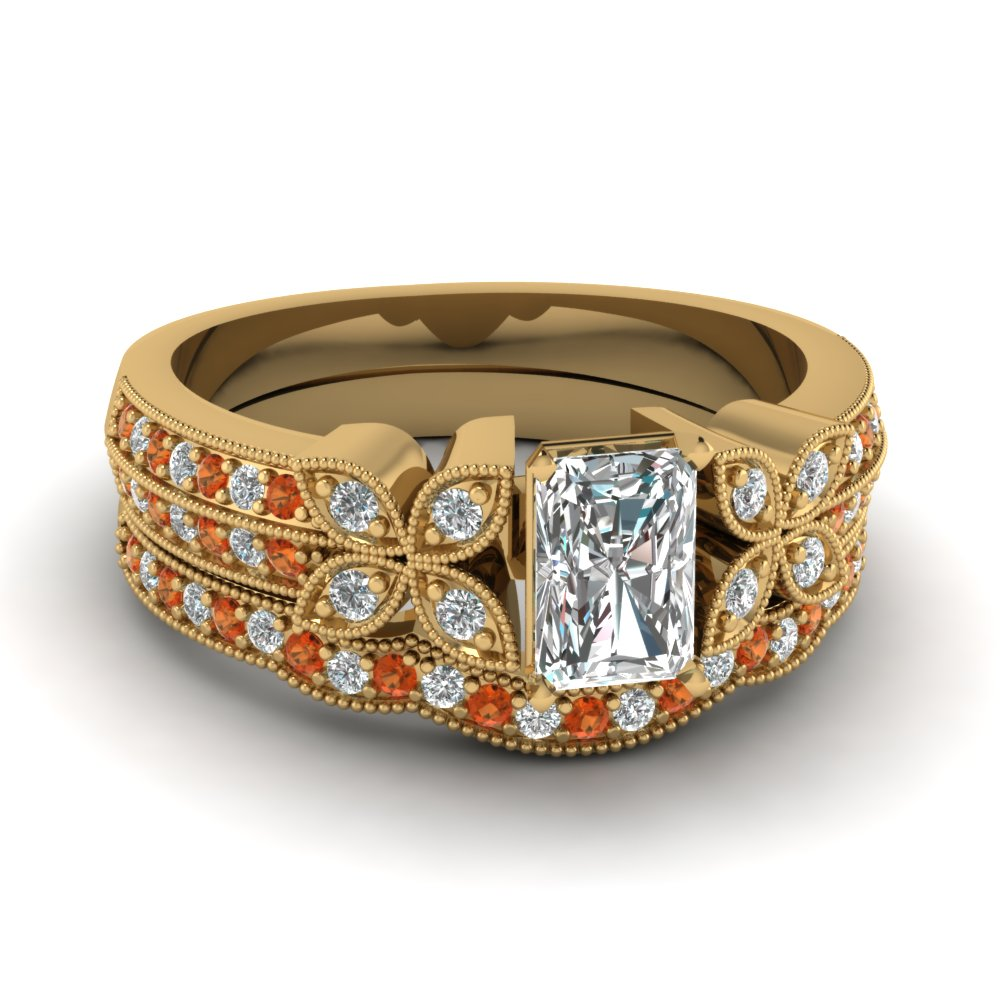 radiant-cut-diamond-milgrain-petal-wedding-set-with-orange-sapphire-in-18K-yellow-gold-FDENS3308RAGSAOR-NL-YG