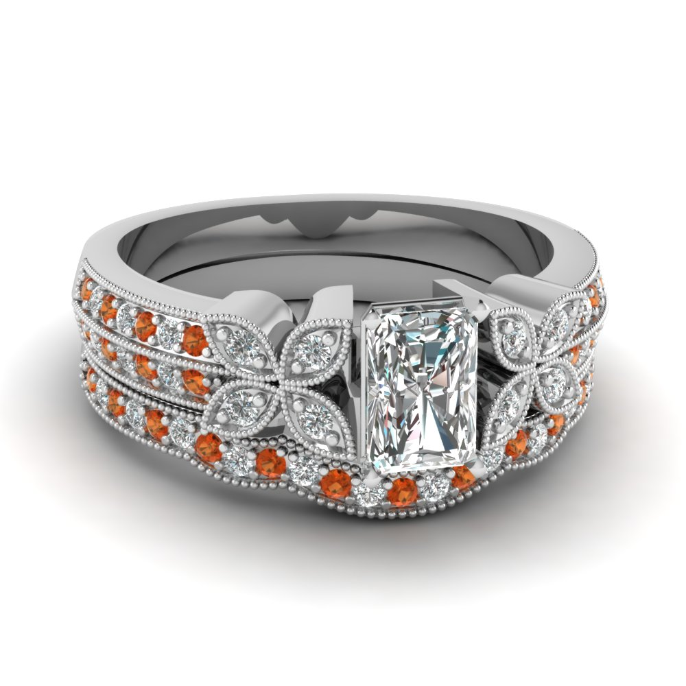 radiant-cut-diamond-milgrain-petal-wedding-set-with-orange-sapphire-in-950-Platinum-FDENS3308RAGSAOR-NL-WG