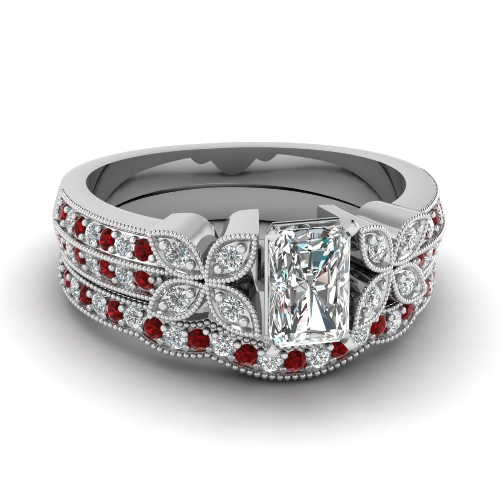 radiant-cut-diamond-milgrain-petal-wedding-set-with-red-ruby-in-14K-white-gold-FDENS3308RAGRUDR-NL-WG