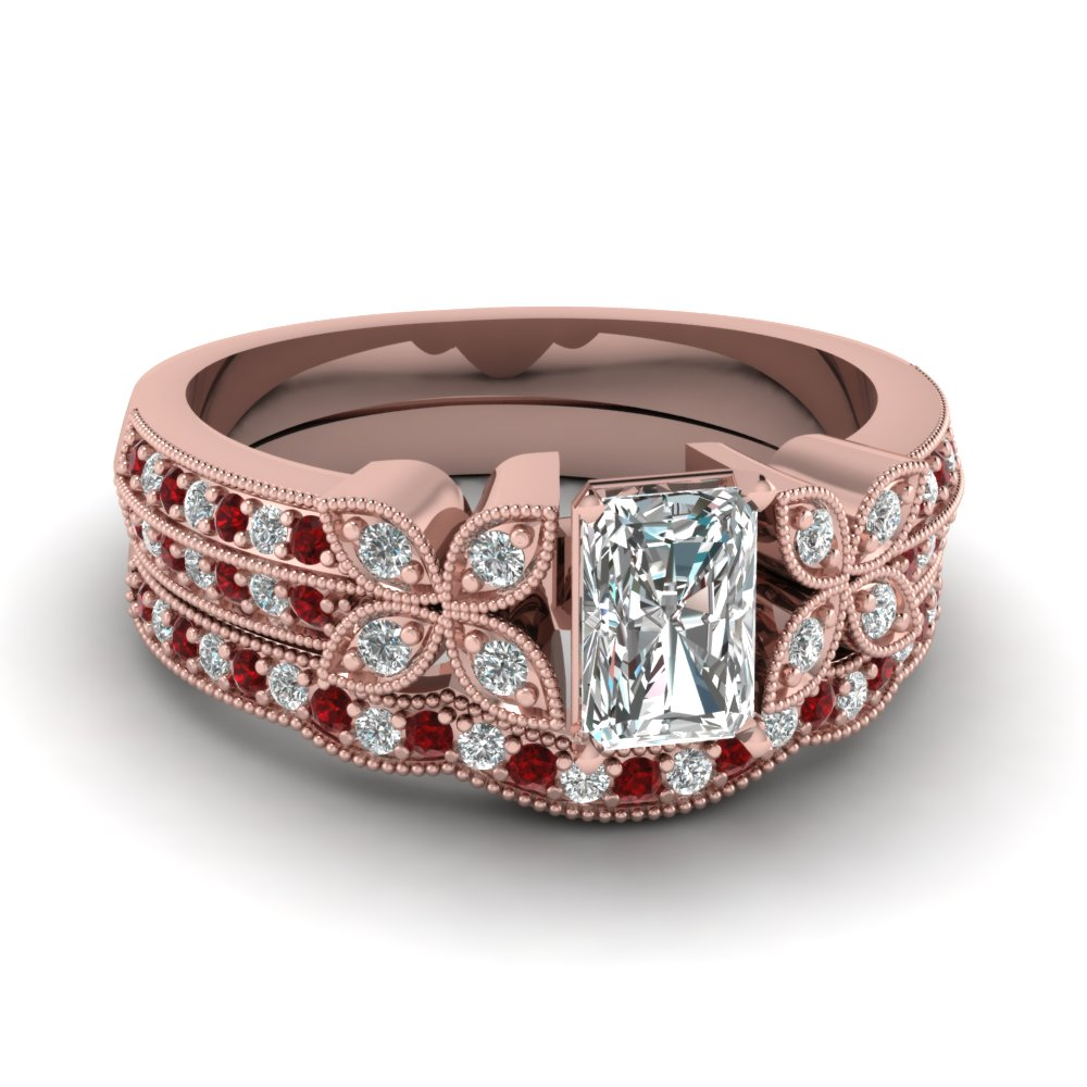 radiant-cut-diamond-milgrain-petal-wedding-set-with-red-ruby-in-18K-rose-gold-FDENS3308RAGRUDR-NL-RG