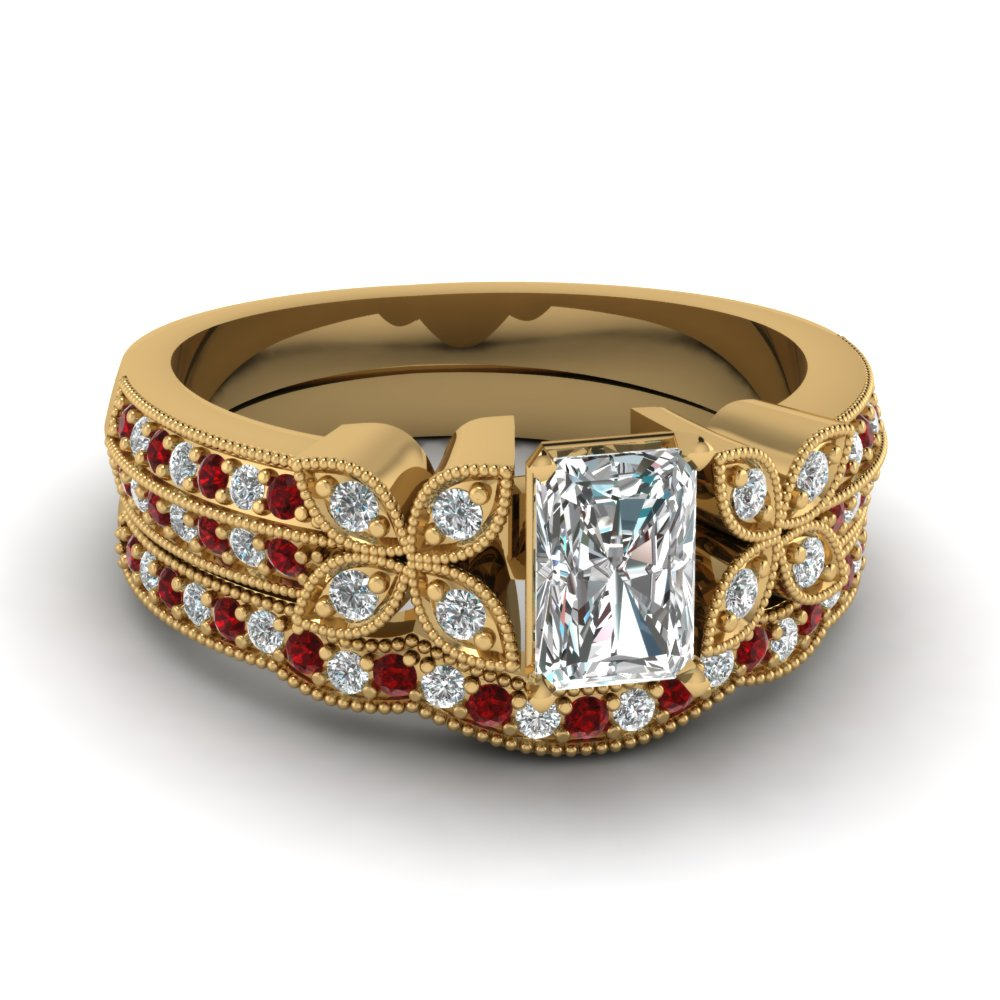 radiant-cut-diamond-milgrain-petal-wedding-set-with-red-ruby-in-18K-yellow-gold-FDENS3308RAGRUDR-NL-YG