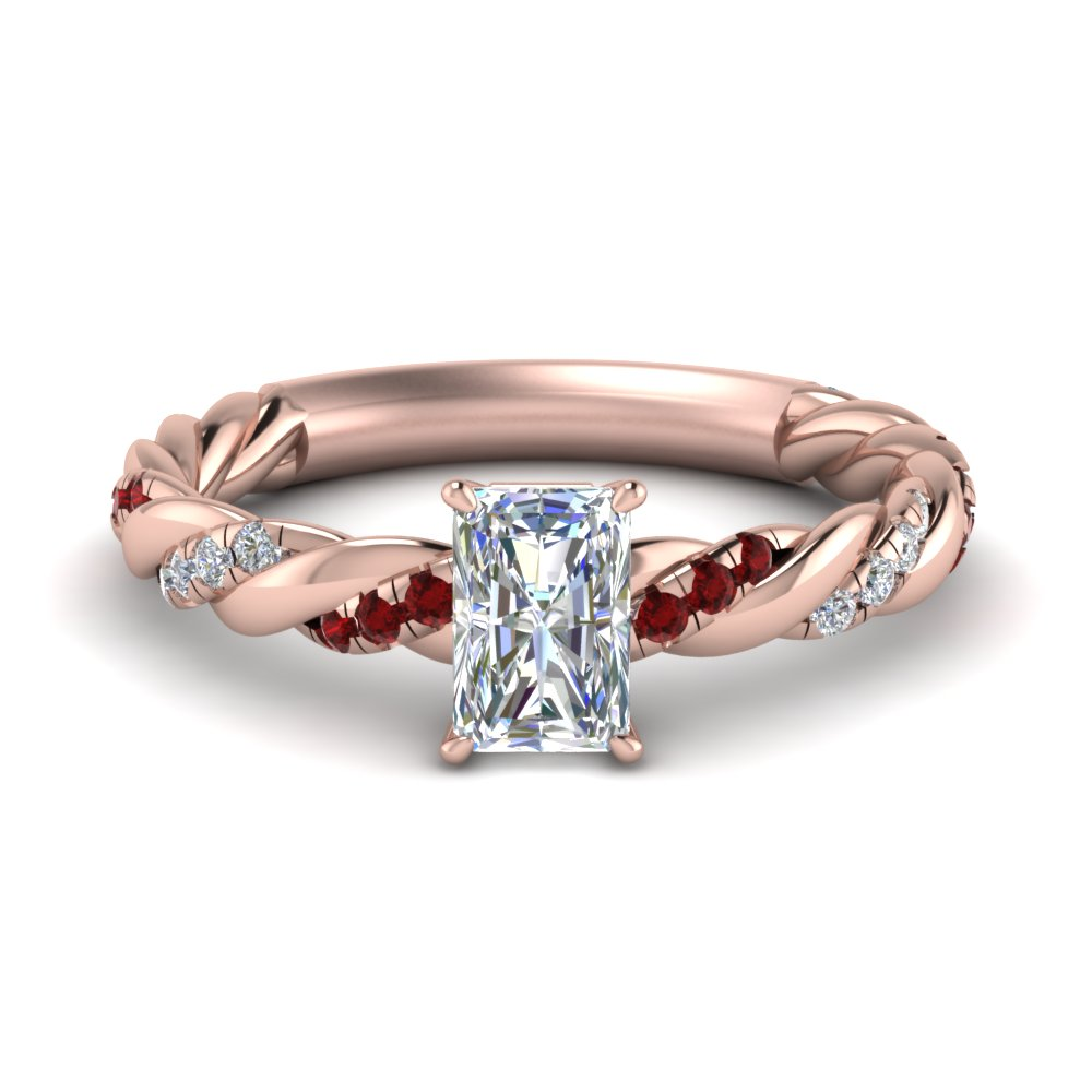 twisted vine radiant diamond engagement ring for women with ruby in FD9127RARGRUDR NL RG