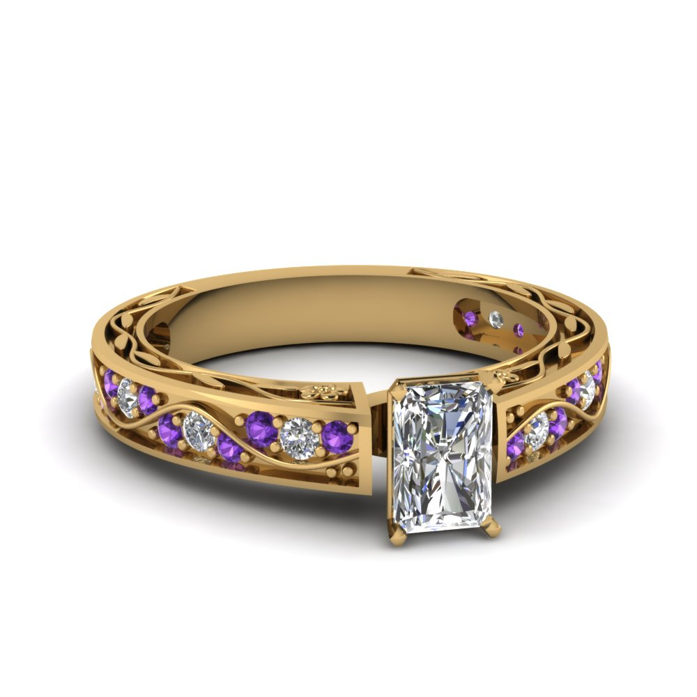 Radiant Cut Diamond with Purple Topaz Engagement Ring