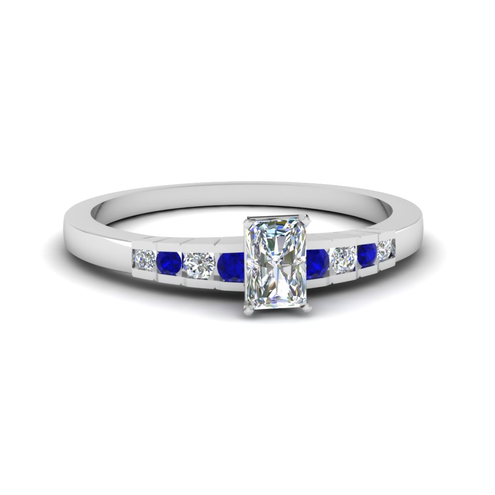 radiant cut diamond graduated accent engagement ring with sapphire in 14K white gold FDENS3116RARGSABL NL WG