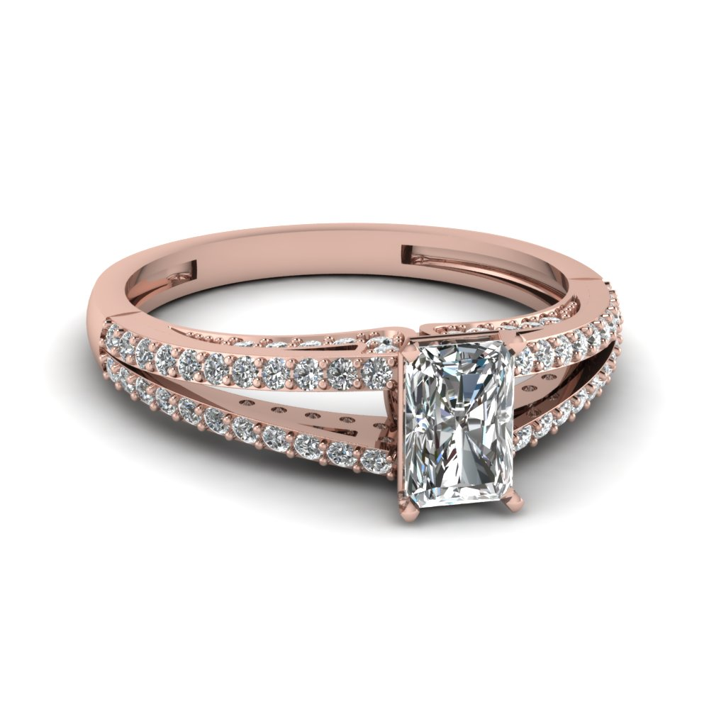 Radiant Cut Split Shank Diamond Engagement Ring In Rose Gold