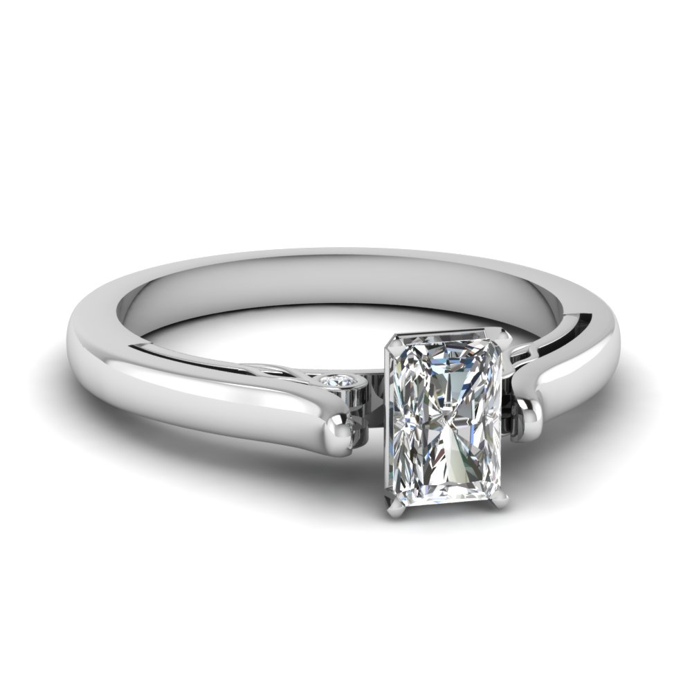Radiant Cut Cathedral Engagement Ring